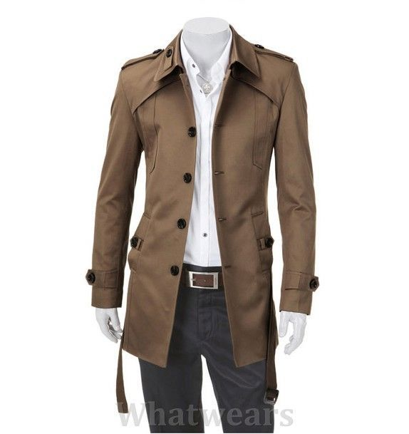 Homme Veste Casual Trench Manteau Caban cafe caffee A29 in Vêtements, accessoires | eBay