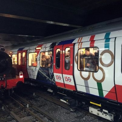 One of the brand new air conditioned Metropolitan Line trains has been decorated with a special design to celebrate the Tube's 150th birthday.