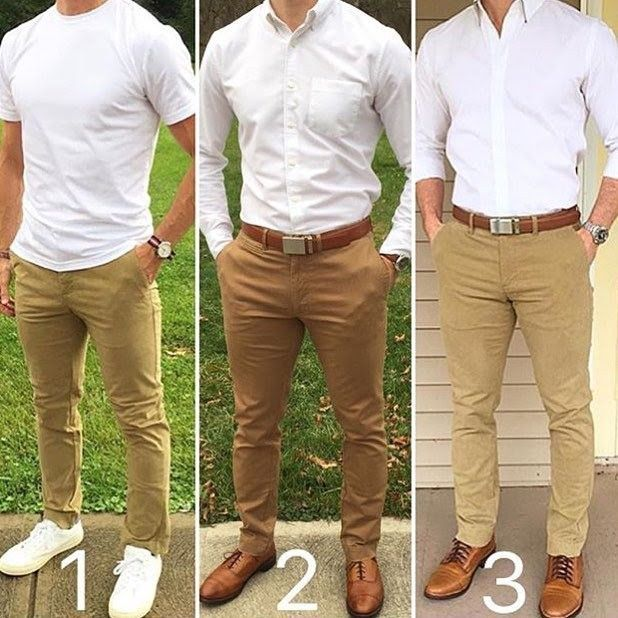 Khaki colored Pants, White button up | Men style tips