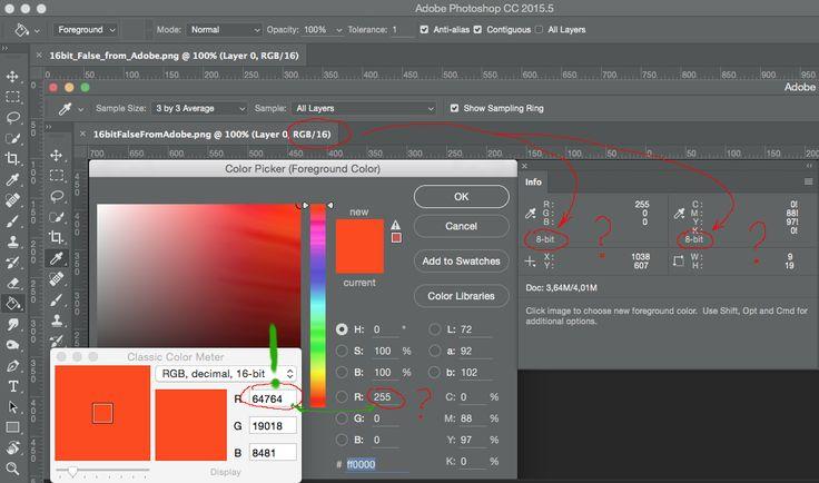 16-bit пипетка Сlassic Color Meter. Если открыть референсный файл плашек в PS, то значения цветов в PS не совпадают с референсными знач. этих цветов  Как же можно что-то редакт. по цвету, если мы даже не видим в PS тот цвет кот. задан в референсе?  Как редакт. 16-ти битовый цвет в PS, если пипетка 8-bit? существуют ли программы редакт. 16-bit изображений? 16-bit пипеткой взят цвет с квадрата над надписью current. В PS знач. R 255 (в 16-ти битах это 65535) и нули в G и B, а CCM показывает…