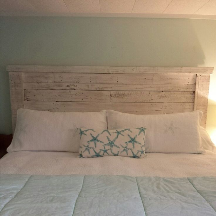 King headboard made from pallet wood painted and for White pallet bed