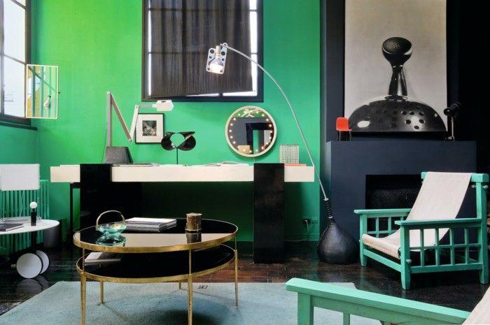 Bauhaus interior decor. Unusual to see green walls. http://www.freshdesignpedia.com/wp-content/uploads/111-interior-design-ideas-for-apartments-and-houses/interior-decoration-ideas-interior-designers-living-ideas-loft-style-bauhaus-black-gruen3.jpg