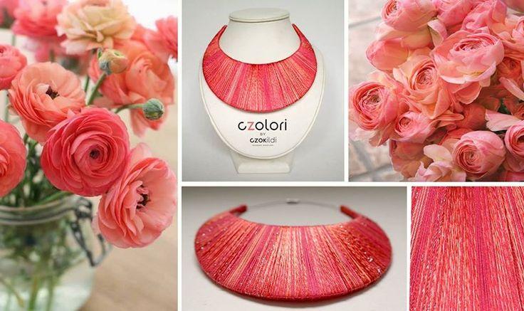 Czok Ildi designer jewellery #czokildi #czokildijewellry #designerjewellry #silk #yarn #peach #coral #salmon #necklace