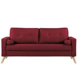 IBRA Canapé droit fixe 3 places - Tissu rouge foncé - Scandinave - L 181 x P 86 cm