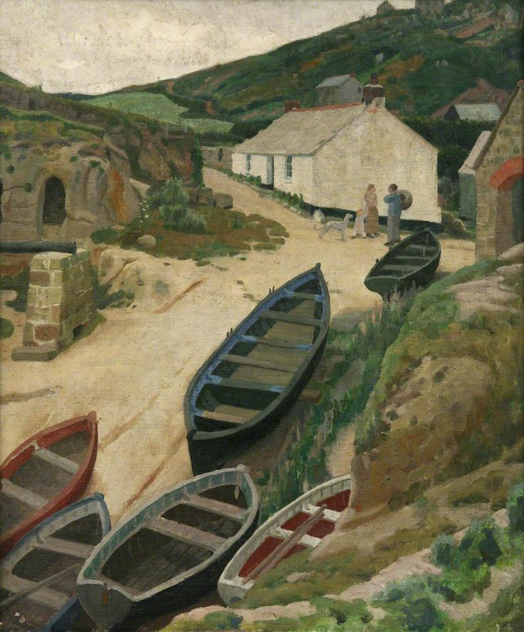 #artoftheday Ernest Procter was an English artist and designer, and husband of fellow artist, Dod Procter. He studied in Paris, where he was inspired by Impressionists and Post-Impressionists, and later went on to teach at the Glasgow School of Art. 'Porthgwarra' by Ernest Procter (1886–1935), Penlee House Gallery & Museum