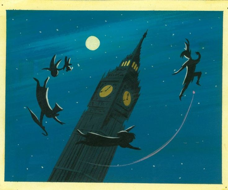 Concept art of Peter and children silhouetted around Big Ben, ca. 1953 - La ilustradora más admirada por Walt Disney - 20minutos.es