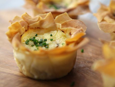 Mini Filo Quiche - Lorraine Pascale Recipe Filo pastry is low on syns so I'm sure this could be used for a slimming world buffet