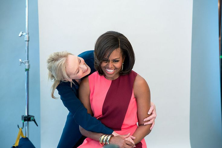 First Lady Michelle Obama and Meryl Streep participate in a photo shoot for MORE magazine in the Blue Room of the White House, Feb. 24, 2015. (Official White House Photo by Amanda Lucidon)