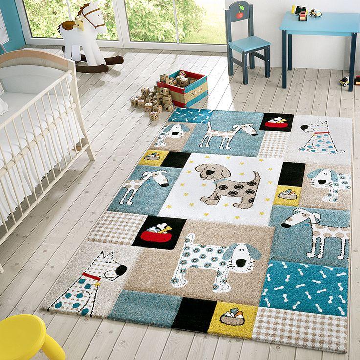 Details Zu Kinder Teppich Moderner Spielteppich Hunde Karos Pastell Töne In  Blau Beige