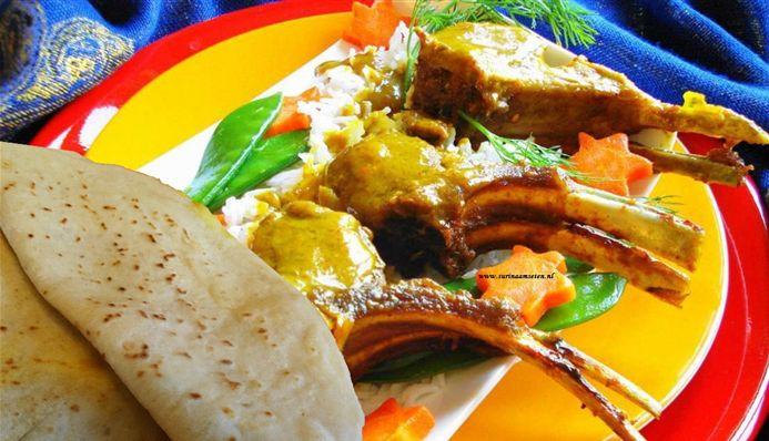 Surinaams eten – Sandhia's Roti Lamskoteletten (Surinaamse roti met geroosterde lamsvlees in masala)