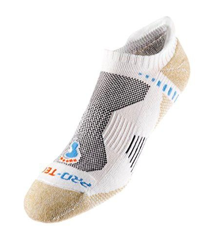 ProTect Men's Extreme Fitness Ultra No Show Socks 2-Pack With Heel Tab (Large, White)