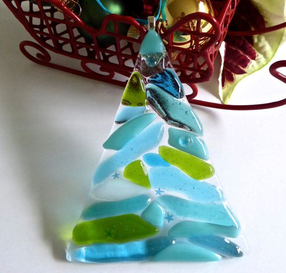 Fused Glass Turquoise, Green and Aqua Christmas Tree Ornament by bprdesigns