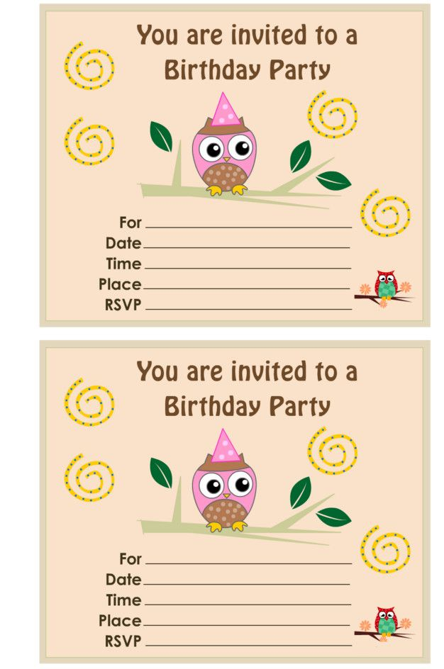 Best 25 Owl birthday invitations ideas – Free Printable Party Invitations for Kids Birthday Parties