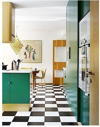 Green Kitchen. Checkered Floor.
