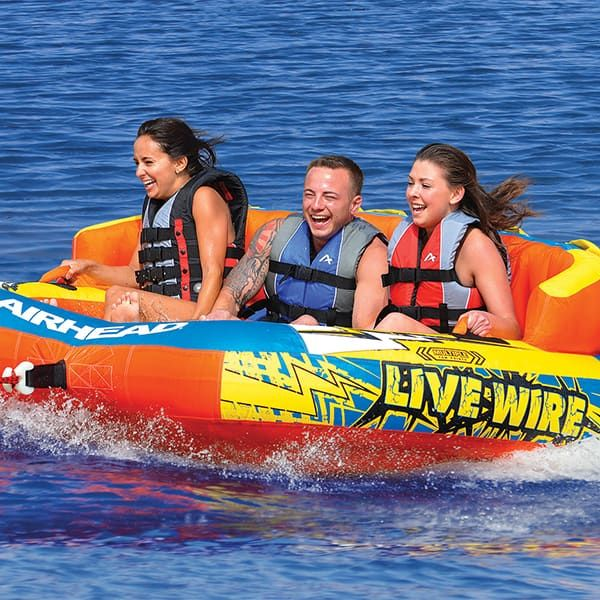 Hold on tight! Hit it water with the Airhead Live Wire 3 Rider from Family Leisure!