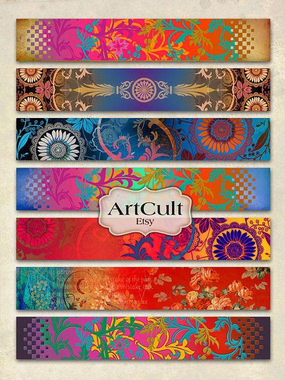 ARTE tiras No1 hoja de Collage Digital para pulseras por ArtCult