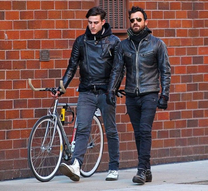 Wearing his signature leather jacket, Justin Theroux keeps leather in the family as he is pictured with his younger brother Sebastian.