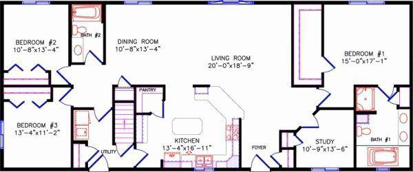 4 Bedroom Rectangular House Plans Elegant Simple One Story Open Floor Plan Recta In 2020 Floor Plans Ranch Rectangle House Plans House Plans One Story