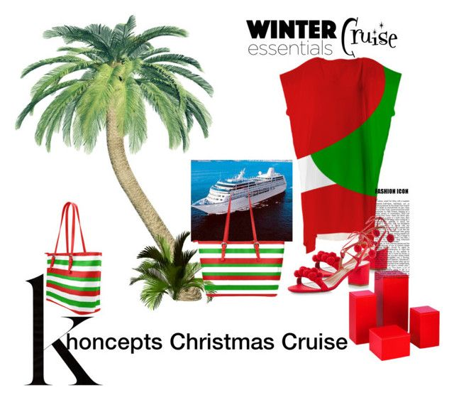 Khoncepts Christmas Cruise Outfit by khoncepts on Polyvore featuring red, green and white tote bag
