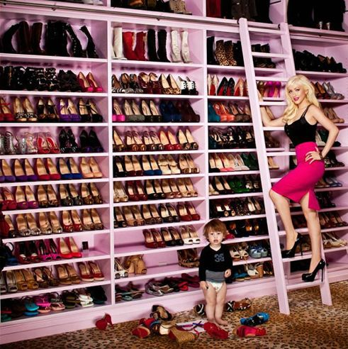 Dream Shoe Wall. Everyone knows I love myself a library ladder!!