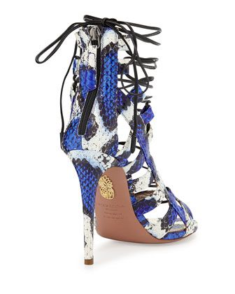 Aquazzura Amazon Lace-Up Snakeskin Sandal, Blue/White | See more about Amazons and Sandals.