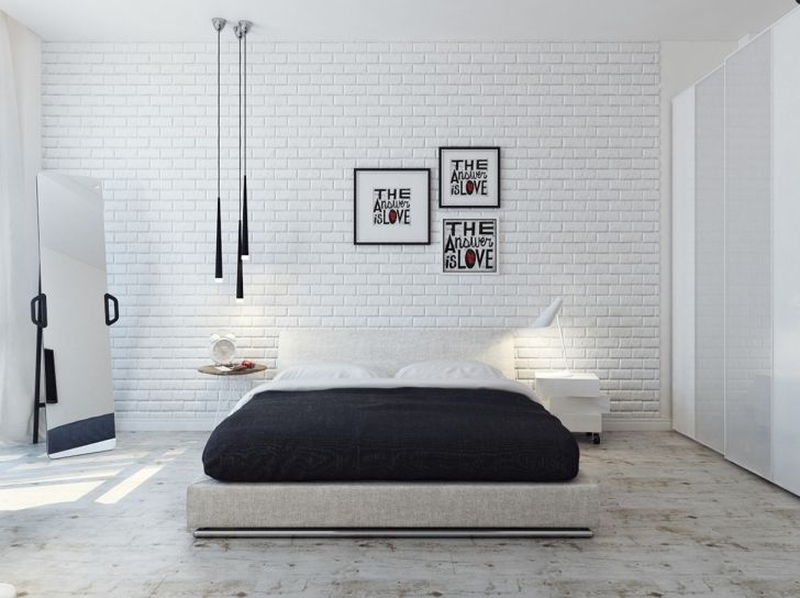white brick wallpaper bedroom google search - Brick Wall Bedroom