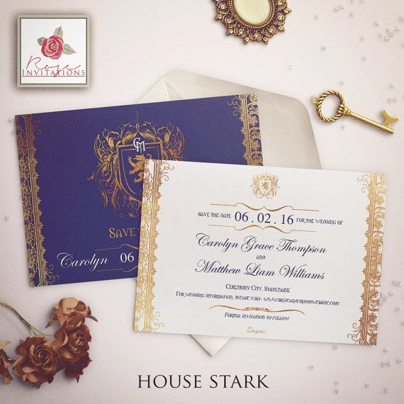 House Stark  Save the Date Card  Game of by RoseInvitations