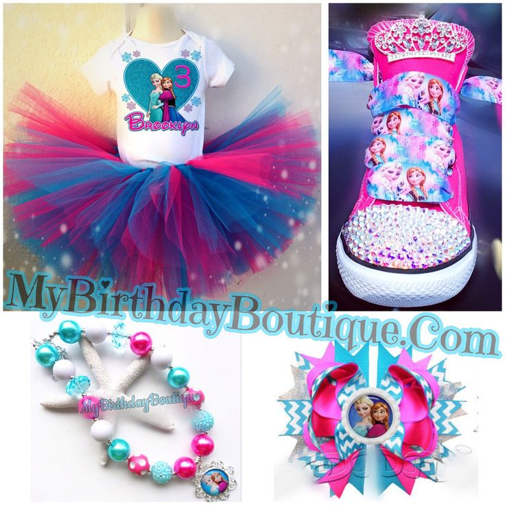 Frozen birthday party outfit, frozen Birthday shoes, frozen bubblegum necklace and bow