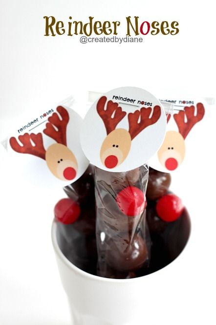 Reindeer Noses @createdbydiane: Christmas Gifts Ideas, Friends Gifts, Adorable Reindeer, Kids Friends, Christmas Treats, Ideas Reindeer, Treats Christmas, Cakes Ball, Reindeer Noses