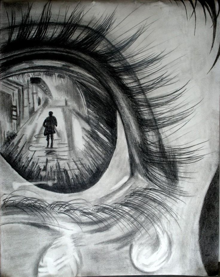 Through her eyes sketching by anurag kumar at for Creative art drawing ideas