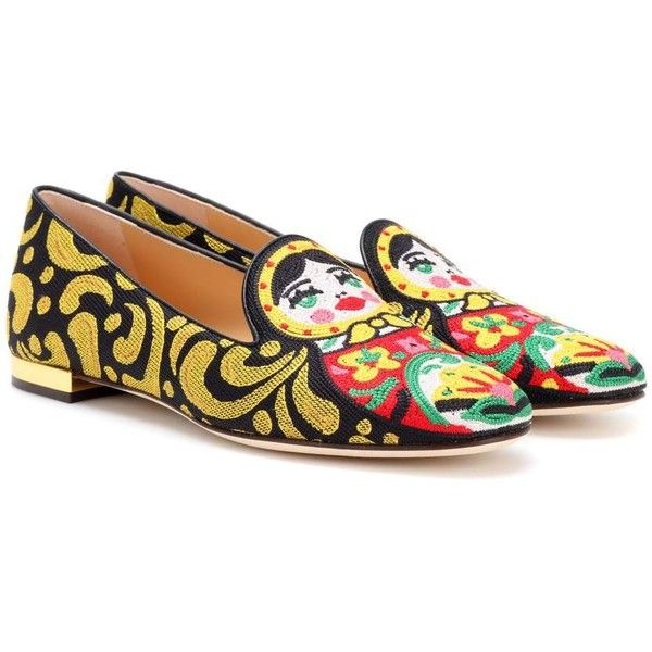 Charlotte Olympia Matrioska Ballerinas ($415) ❤ liked on Polyvore featuring shoes, flats, multicoloured, colorful ballet flats, ballerina flats, multi colored ballet flats, multi color flats and colorful flats