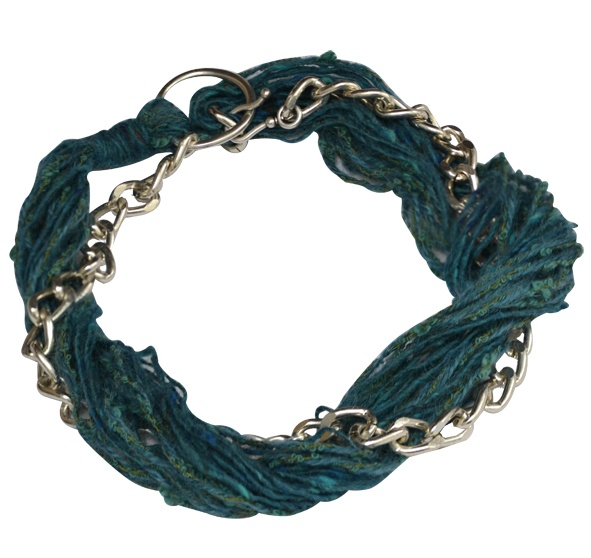 """Necklace """"Rock"""" petrol blue  Chain Faux Necklace with petrol blue thread in between. Worn in 2 ways. Short or long."""