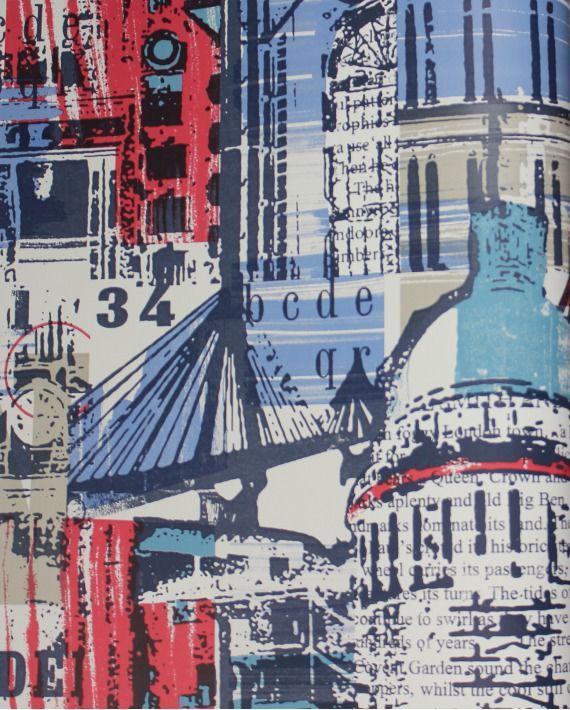 Tapeta Arthouse Options niebiesko-czerwona miasto - The city