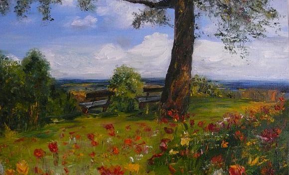 Summer landscape. Артклуб Gallerix Oil on board.  Sold