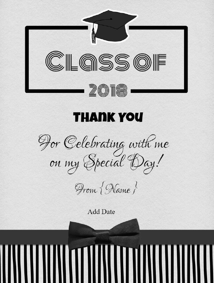 7 Free Printable Graduation Thank You Cards Black And White Graduation Thank You Graduation Thank You Cards Graduation Card Templates Postcard Template Free