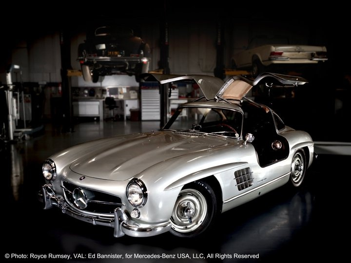1956 mercedes benz 300 sl 39 gullwing 39 coupe at the mercedes for Mercedes benz classic car center