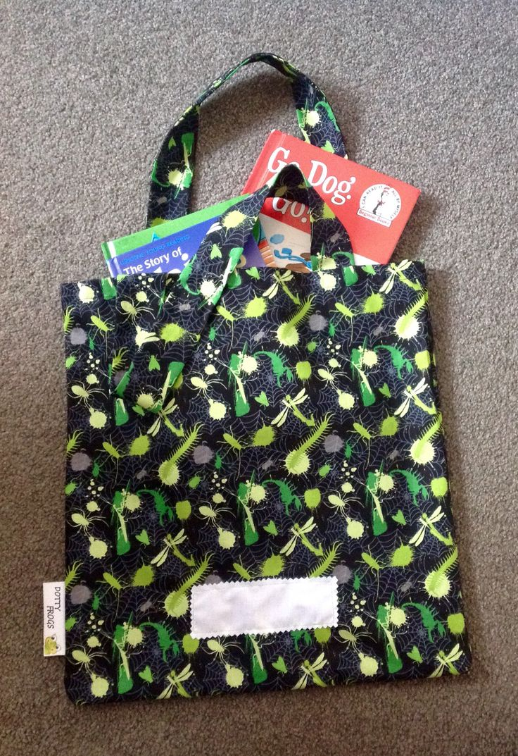 Dotty Frogs, Kids library bag.