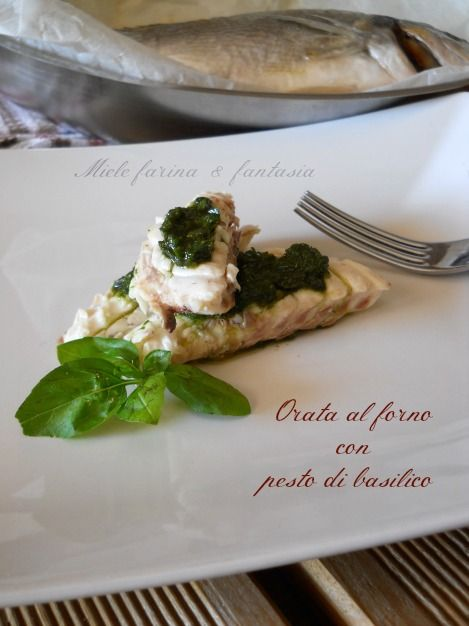 Orata al forno con pesto di basilico