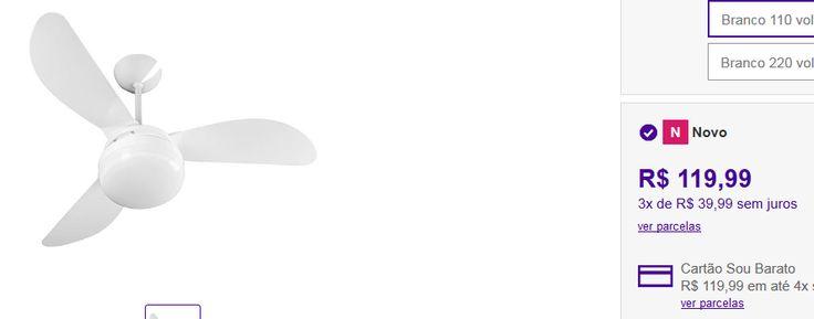 Ventilador de Teto Ventisol Fênix Branco 3 Pás CV3 Premium << R$ 11399 >>