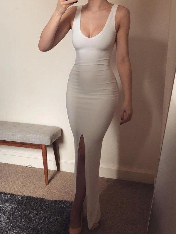 Scoop Neck Thick Strap Bodycon Split Dress
