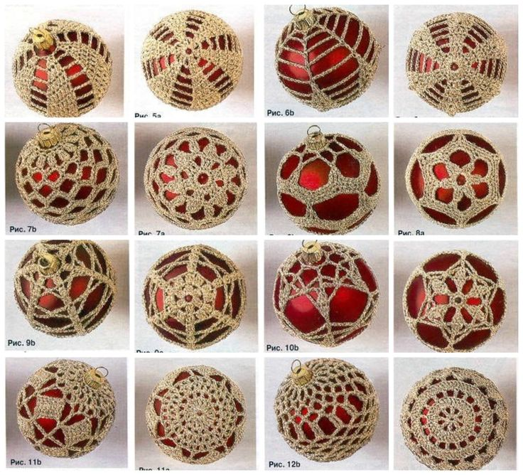 crochet on Christmas balls