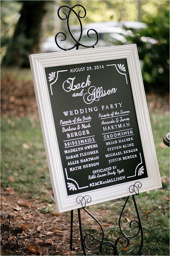 framed chalkboard wedding program
