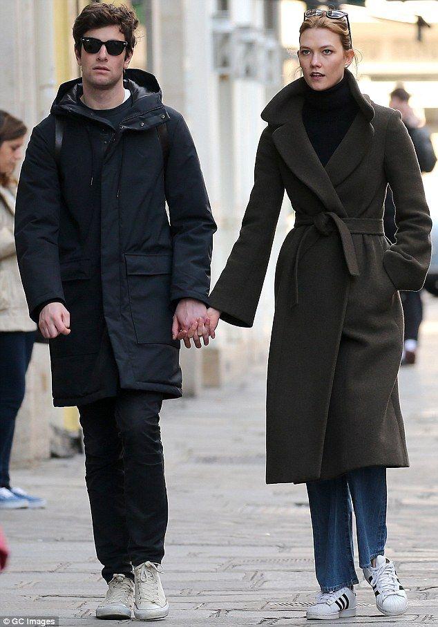In love: Karlie Kloss and her boyfriend Joshua Kushner were spotting holding hands in Paris on Saturday