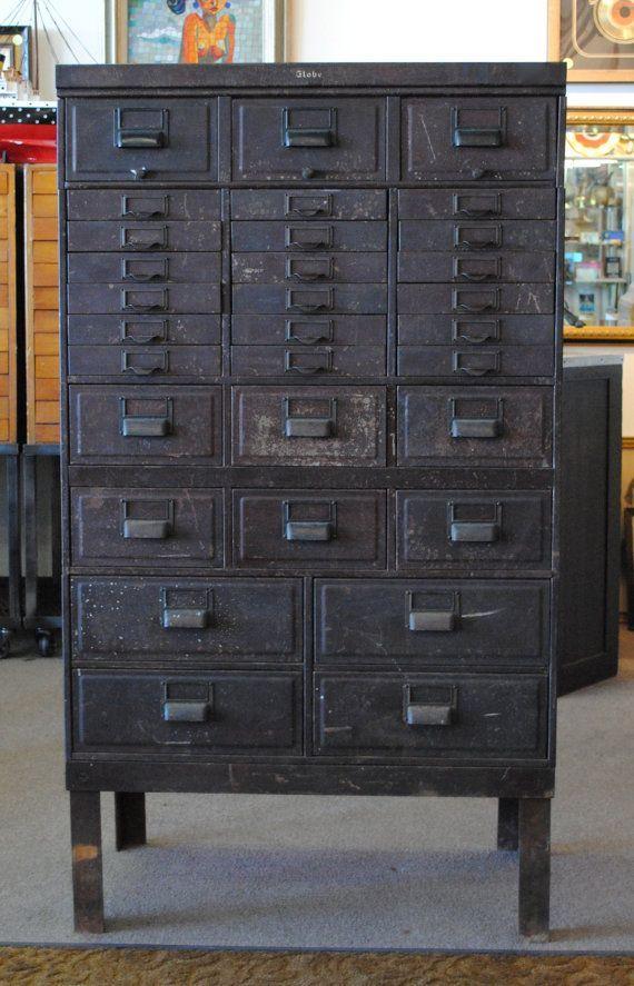 Vintage Industrial Globe Stacking Metal 31 Drawer Card Catalog Storage Cabinet