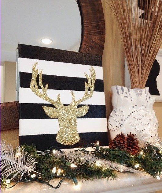This festive deer head canvas: | Community Post: 15 Gloriously Simple Christmas DIYs You Can Make This Winter