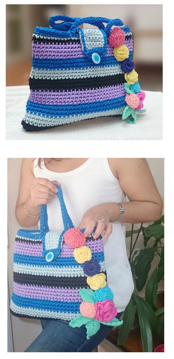 Colorful Crochet Bag Flower Handbag Macrame Bag Lavender Bag Blue Bag Pink Flowers Yellow Flowers Blue Flowers Summer Crochet Bag For Mom by LTLDizaynDIY on Etsy