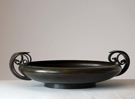 Large Art Deco Bronze Bowl Ats Ildfast Bronce Denmark Deco Bronzes Art Deco Large Art
