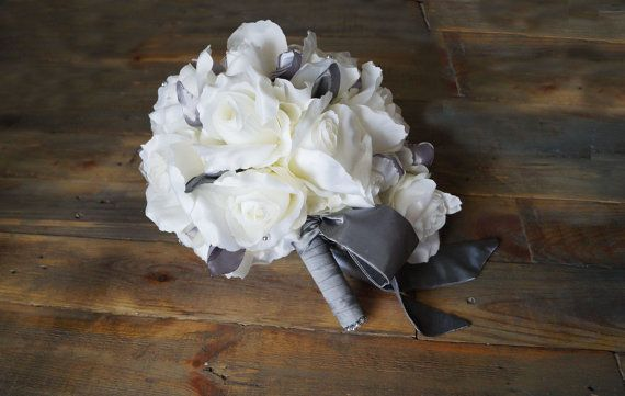 Gray Wedding Bouquet Bridal Bouquet by WeddingDesignForYou on Etsy