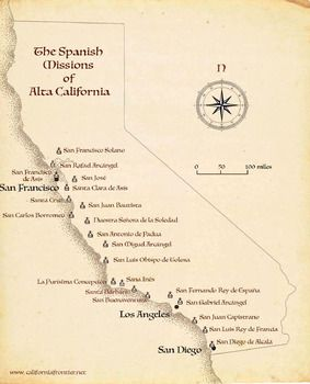 A printable map of the 21 Alta California missions. Print it, project it on screen, refer to it when you discuss the Spanish missions in California.