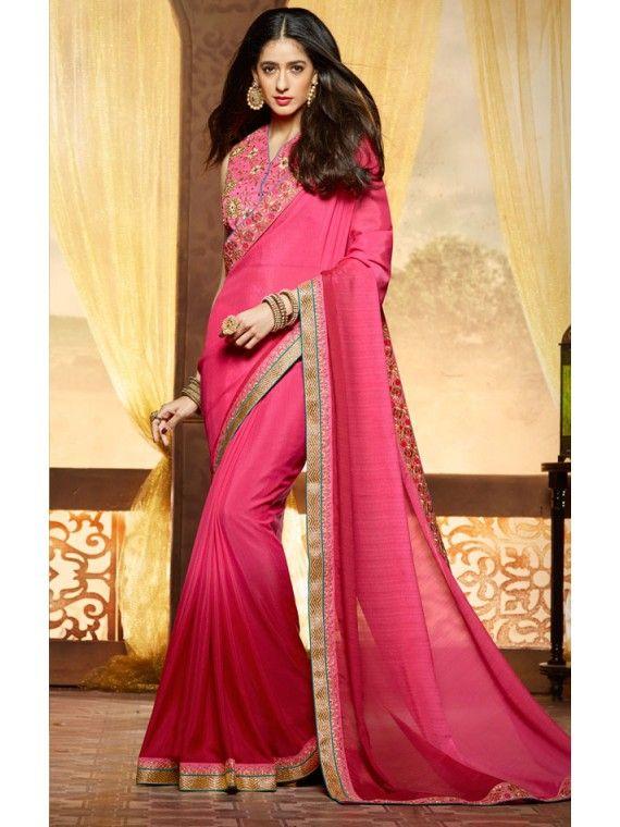 Mesmeric Pink and Golden saree